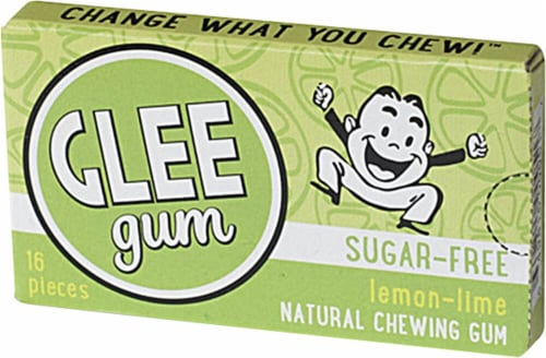 Glee Gum  Xylitol Sweetened Natural Gum   Lemon Lime Perspective: front