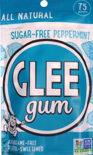 Glee Gum  All Natural Sugar Free   Gum   Peppermint Perspective: front