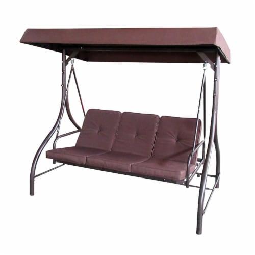 Aleko SWC03BR-UNB Outdoor Furniture Garden Porch & Patio Swing Chair, Brown Perspective: front