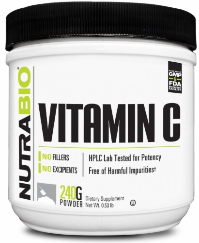 NutraBio Vitamin C 240G Powder Perspective: front