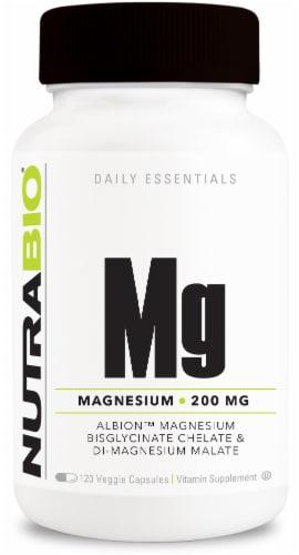 NutraBio Daily Essentials Magnesium 200mg Veggie Capsules Perspective: front
