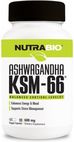 NutraBio Ashwagandha KSM-66 Veggie Capsules 600mg Perspective: front