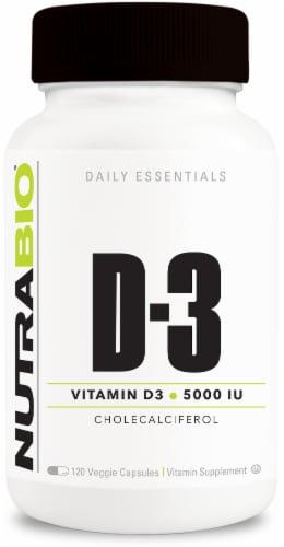 NutraBio Vitamin D3 5000 IU Perspective: front