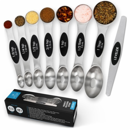 Zulay Kitchen Premium Stainless Steel Magnetic Measuring Spoons, 8 Piece Set with Leveler Perspective: front