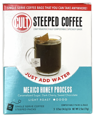 CULT Mexico Honey Process Light Roast Steeped Coffee Perspective: front