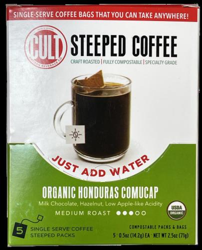 CULT Organic Honduras Comucap Medium Roast Steeped Coffee Perspective: front