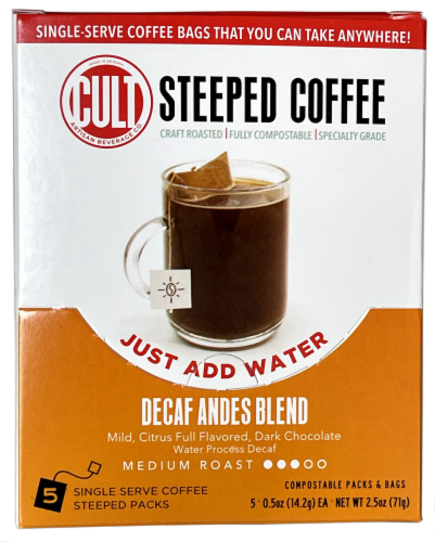 CULT Decaf Andes Blend Medium Roast Steeped Coffee Perspective: front