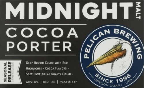 Pelican Brewing Company Midnight Malt Cocoa Porter Beer Perspective: front