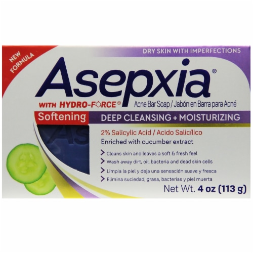 Asepxia with Hydro-Force Deep Cleansing & Moisturizing Acne Bar Soap Perspective: front