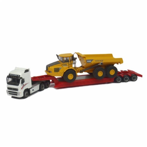 Cararama CAR185-003 Volvo FH12 with Lowboy & Volvo A40D Articulated Hauler Perspective: front