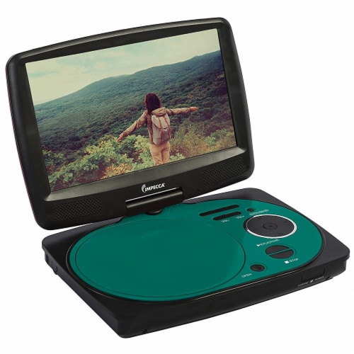 Impecca 9 Inch Swivel Screen Portable Dvd Player Teal Perspective: front