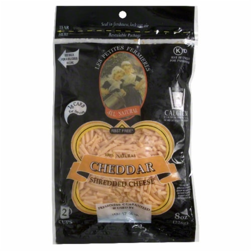 Les Petites Fermieres Mild Shredded Cheddar Cheese Perspective: front