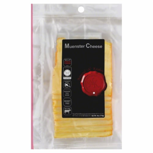 Natural & Kosher Sliced Muenster Cheese Perspective: front