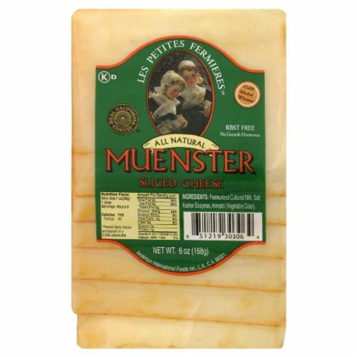 Les Petites Sliced Muenster Cheese Perspective: front