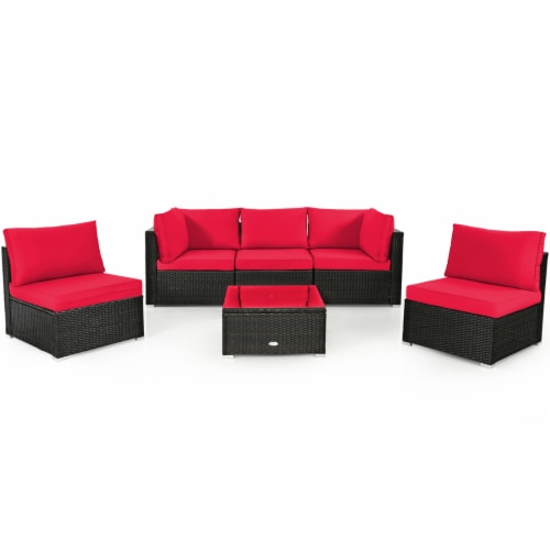 Gymax 6PCS Rattan Outdoor Sectional Sofa Set Patio Furniture Set w/ Red Cushions Perspective: front