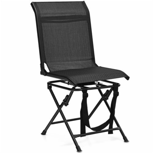Gymax Folding 360° Silent Swivel Hunting Chair Blind Chair All-weather Outdoor Perspective: front