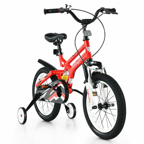 Gymax 16'' Kids Bike Toddlers Adjustable Freestyle Bicycle w/ Training Wheels Perspective: front