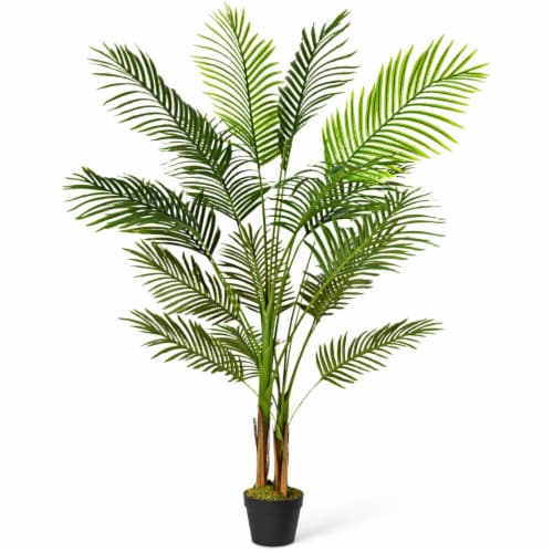 Gymax 5Ft Artificial Phoenix Palm Tree Plant for Indoor Home Office Decoration Perspective: front