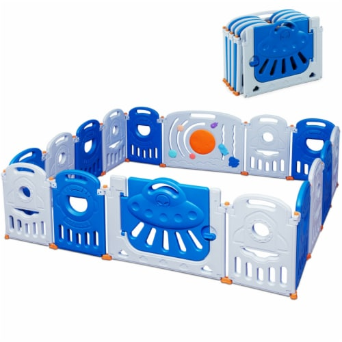 Gymax 16-Panel Baby Playpen Toddler Kids Safety Play Center w/Lockable Gate Perspective: front