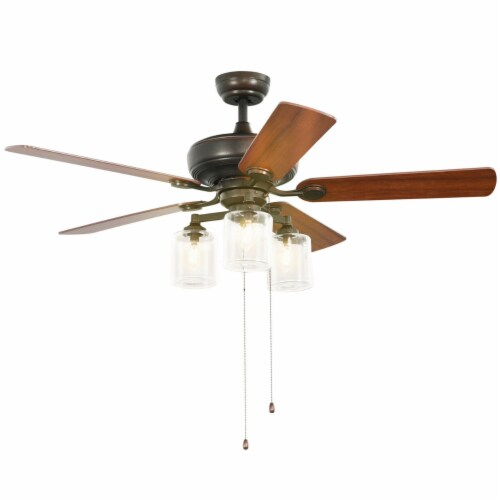 Gymax 52'' Ceiling Fan Light 5 Bronze Finished Reversible Blades w/Pull Chain Perspective: front