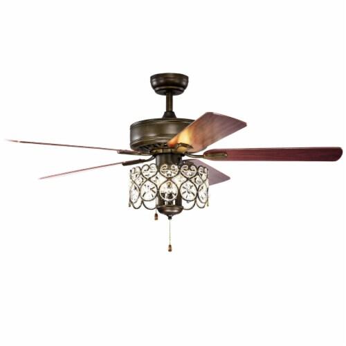 Gymax 52'' Ceiling Fan W/ Light Retro Crystal Chandelier Ceiling Fan 5 Reversible Fan Perspective: front