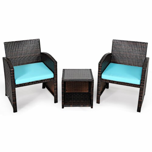 Gymax 3PCS Rattan Patio Conversation Furniture Set Yard Outdoor w/ Cushions Perspective: front