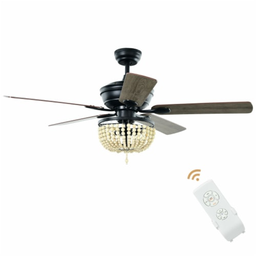 Gymax 52'' Retro Ceiling Fan Light w/ Reversible Blades Remote Control Perspective: front