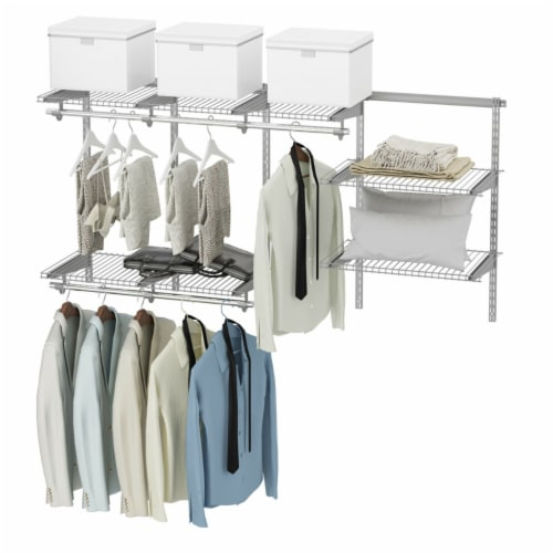 Gymax Custom Closet Organizer Kit 3 to 6 FT Wall-mounted Closet System w/Hang Rod Grey Perspective: front