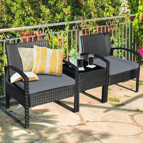 Gymax 3PCS Patio Rattan Conversation Furniture Set Outdoor Yard w/ Grey Cushions Perspective: front