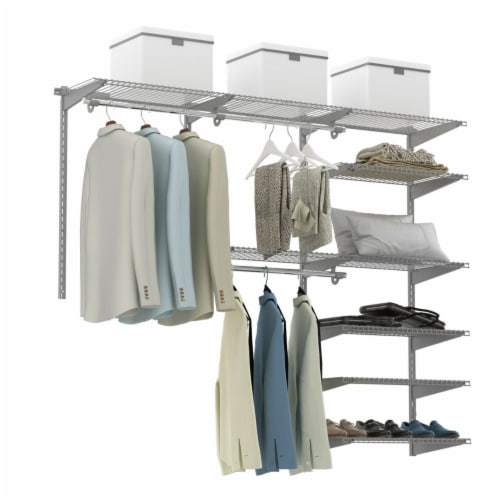 Gymax Custom Closet Organizer Kit 4 to 6 FT Wall-mounted Closet System w/Hang Rod Grey Perspective: front