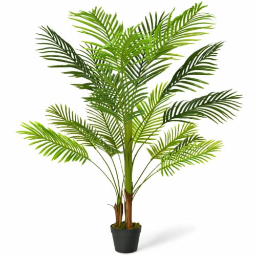 Gymax 4.3Ft Artificial Phoenix Palm Tree Plant for Indoor Home Office Store Perspective: front