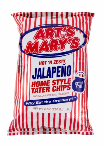Art's & Mary's Hot N Zesty Jalapeno Potato Chips Perspective: front