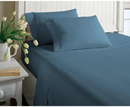 Morgan Home Fashions Jersey Knit Sheet Set   Heather Blue Perspective: Front