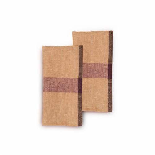 """GOLDEN RAISIN Napkin (set of 2). 20""""x20"""" Handwoven Flax Linen Perspective: front"""