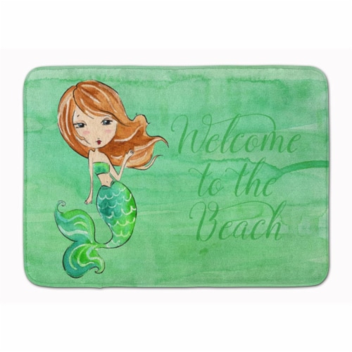Mermaid Welcome Green Machine Washable Memory Foam Mat Perspective: front