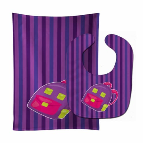 Carolines Treasures  BB8866STBU Back to School Backpack #1 Baby Bib & Burp Cloth Perspective: front