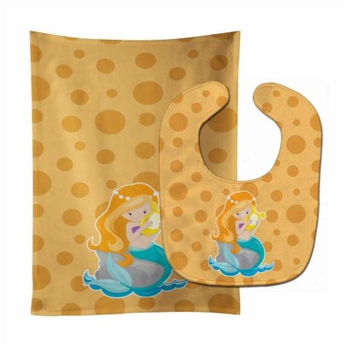 Beach Mermaid Ginger Hair Laurie Baby Bib & Burp Cloth Perspective: front