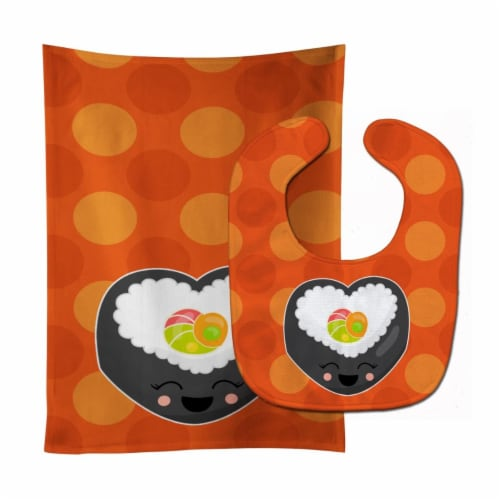 Carolines Treasures  BB8801STBU Heart Sushi Roll with Face Baby Bib & Burp Cloth Perspective: front
