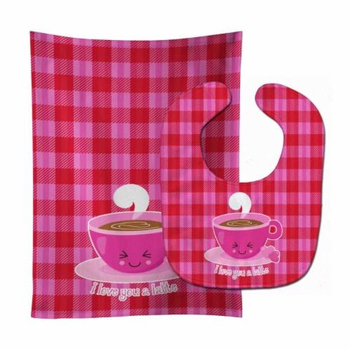 Carolines Treasures  BB9130STBU I love you a Latte Baby Bib & Burp Cloth Perspective: front