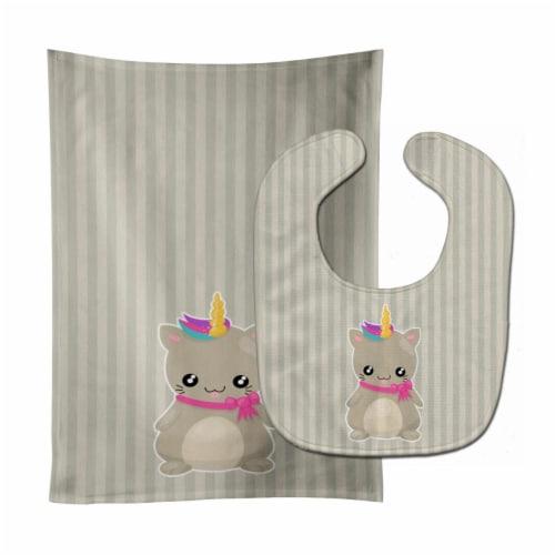 Carolines Treasures  BB9144STBU Mouse Unicorn on Stripes Baby Bib & Burp Cloth Perspective: front