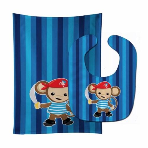 Carolines Treasures  BB8977STBU Pirate Monkey Blue #2 Baby Bib & Burp Cloth Perspective: front