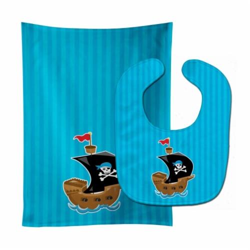 Carolines Treasures  BB8974STBU Pirate Ship blue #2 Baby Bib & Burp Cloth Perspective: front