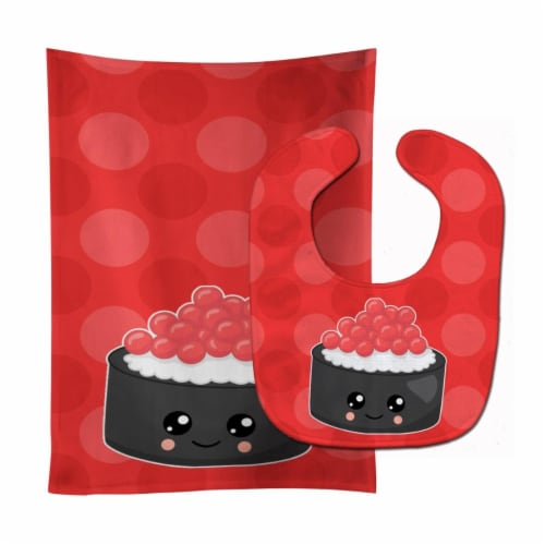 Salmon Sushi Roll with Face Baby Bib & Burp Cloth Perspective: front