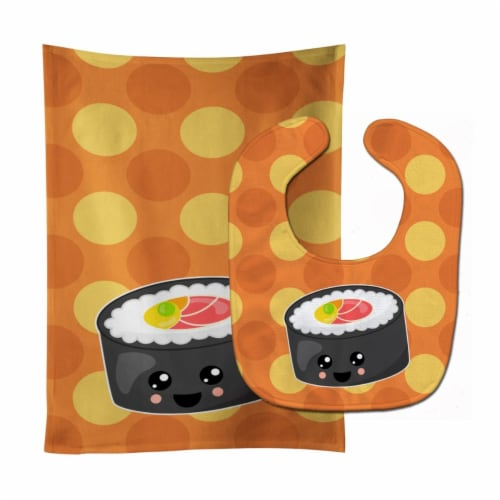 Carolines Treasures  BB8802STBU Sushi Roll with Face Baby Bib & Burp Cloth Perspective: front