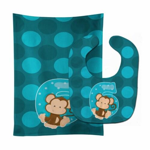 Carolines Treasures  BB9013STBU Zoo Month 6 Monkey Baby Bib & Burp Cloth Perspective: front