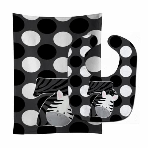 Carolines Treasures  BB9014STBU Zoo Month 7 Zebra Baby Bib & Burp Cloth Perspective: front