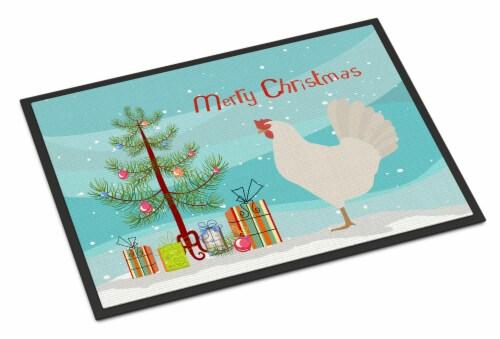 Leghorn Chicken Christmas Indoor or Outdoor Mat 24x36 Perspective: front