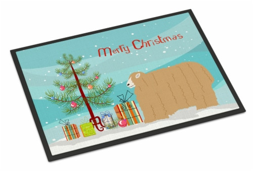 Lincoln Longwool Sheep Christmas Indoor or Outdoor Mat 24x36 Perspective: front