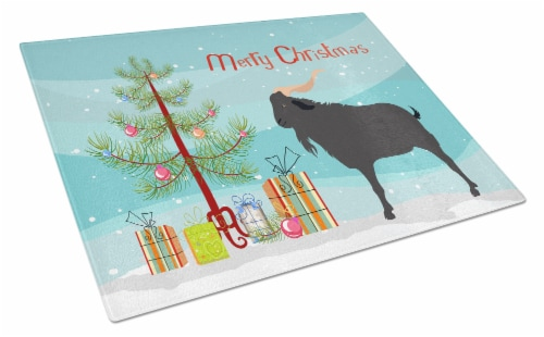 Carolines Treasures  BB9249LCB Verata Goat Christmas Glass Cutting Board Large Perspective: front