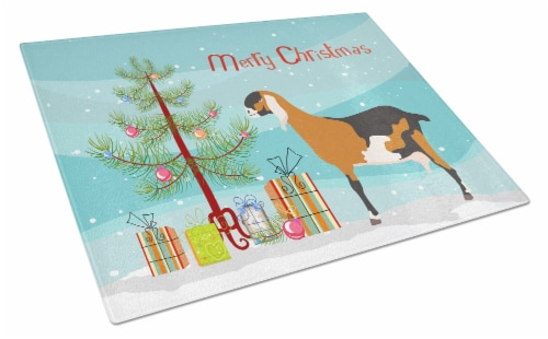 Anglo-nubian Nubian Goat Christmas Glass Cutting Board Large Perspective: front